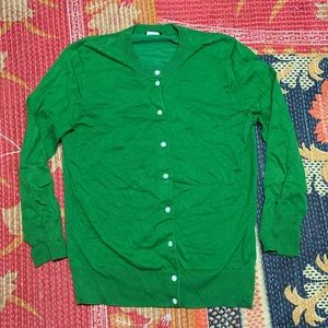 J Crew Button Down Green Cardigan
